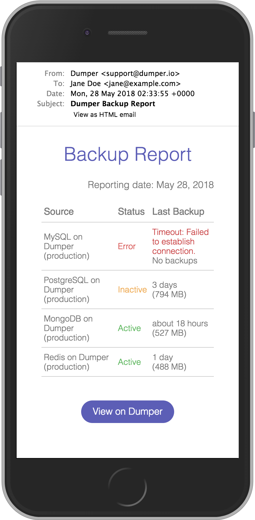 Backup report iphone